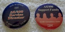 Lot of 2 - As/400 Ibm Buttons Support Family - Service Director - Very Rare