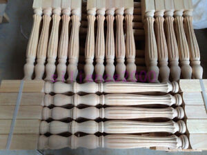 Stair Baluster Elegant Carved Unpainted Wood Pillar Column Spindles Railing