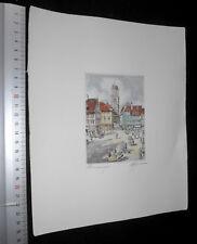 Memmingen Marktplatz belebt Original Radierung coloriert Grafik Kunst signiert
