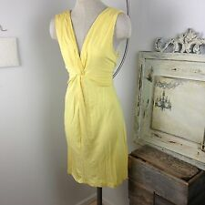 Soma Yellow Knit Sundress XL 16 / 18 Sheath Dress Gold V-neck Fit & Flare Large