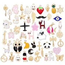 50Pcs/Set Pretty Enamel Mixed Styles Charm Pendants DIY for Necklace Making