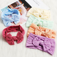Girls Baby Toddler Turban Solid Headband Hair Band Bow Accessories Headwear