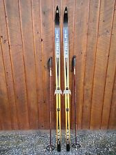 "OLD Wooden Skis 71"" Long With Interesting Character Black and Wood Color Finish"