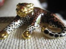 Signed SLC 14K Gold & Enamel Leopard Pendant/Slide
