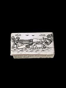 Silver Scenes Silver Plated Ploughing Box Pot Trinket Gift Pill SS 2006 Boxed