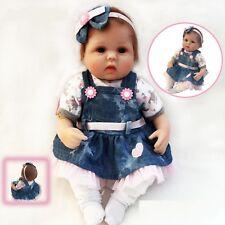 Bambole Reborn 18'' Realistico Bambino Vinile Silicone Vero Vita Baby Dolls Xmas
