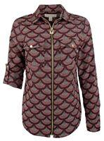 MICHAEL KORS XS Bugundy Ditsy Floral Lock Zip-front Blouse Long Sleeve Shirt TOP