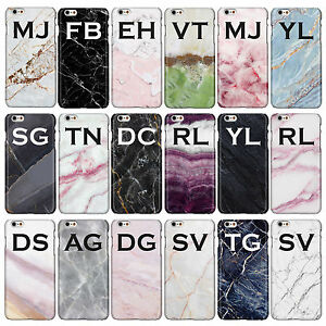 Personalised Marble Case with Large Initials for iPhone Models. Gloss Cover.