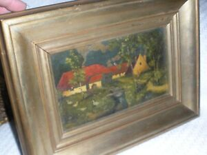 Antique oil on canvas painting red house