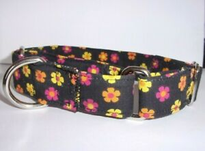 "Dog Martingale Collars Large 17-21"" Adjustable Size Black Fabric with Flowers"