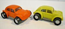 "2 Vintage Mini Tonka Volkswagen Beetles - VW ""Bugs"" 57020 Cars - Lime & Orange"