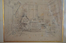 Jozef ISRAËLS(1824-1911)-Dessin original à la plume d'encre noire s/papier-Signé