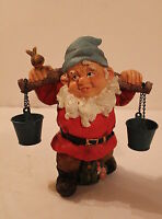 23cm GARDEN GNOME - TRADITIONAL STYLE - WATER CARRIER - GARDEN ORNAMENT - GIFT