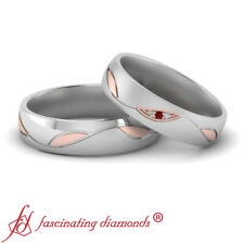 Ruby Gemstone Two Tone Matching Wedding Bands His And Her Round Cut Diamond And