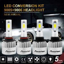 9005 9006 4PCS LED Total 600W 60000LM Combo Headlight High 6000K White Kit Bulbs