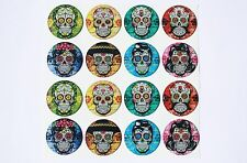 SUGAR SKULLS Epoxy Sticker 1inch round 4 Bottle Cap Magnets and Craft Projects