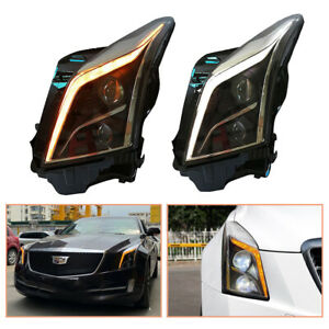 For Cadillac ATS Headlamps HID Projector LED DRL Replace OEM Halogen 2013-2019