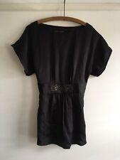 Monsoon Black Sequinned Waist Tie Back Kimono Sleeve Top Xmas Party Size 10