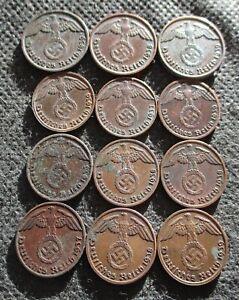 AUTHENTIC OLD COINS THIRD REICH GERMANY 1&2 REICHSPFENNG WORLD WAR II - MIX 749