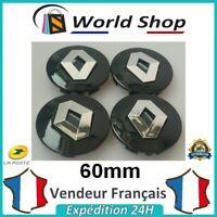 4 centres de roue RENAULT 60mm cache moyeu 60 mm sigle logo emblem centre NOIR