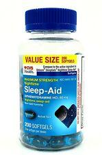 CVS 200-CT Nighttime Sleep Aid Diphenydramine HCl Liquid Filled Capsules 50 mg