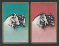 #150.245 vintage swap card -FAIR pair- Bridled horse heads on orange & teal