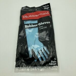 Vintage 1990 Rubbermaid Rubber Gloves Blue Large Extra Long Cuff