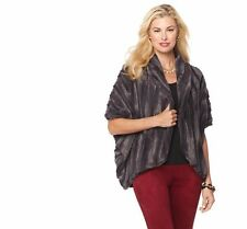 Slinky Brand Faux Fur Cocoon Jacket in Charcoal, XS