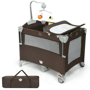 5-In-1 Portable Baby Beside Sleeper Bassinet Crib Playard With Diaper Changer