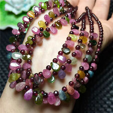 5pcs Natural Colorful Tourmaline Crystal Clear Beads Drops Necklace Wholesale