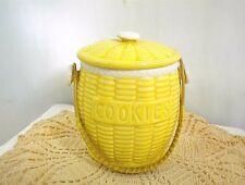 VINTAGE COOKIE JAR WICKER HANDLE YELLOW BASKET JAPAN SMALL