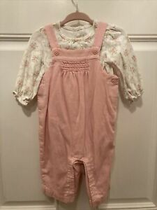 Vintage 2011 12 Janie and Jack size 3 to 6 mth baby girls Pink overalls  Outfit