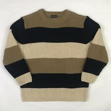 The Childrens Place Sweater Boys Kids Colorblock Stripes Pullover Tan Blue 7/8