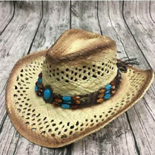 Unisex Women Men Straw Cowboy Hat Handmade With Wired Brim Sunhat Fashion