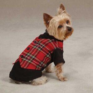 Red Tartan Cotton Blend Dog Vest East Side Collection ZM00983 Unisex