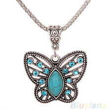 Mariposa turquesa retro hueco de cristal colgante collar de plata tibetana B84U