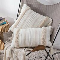 Sofa Pillow Case Cover Cushion Tufted Tassel Woven Decor for Couch Living Room .