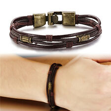 Bronze Men's Braided Leather Stainless Steel Cuff Bangle Bracelet Wristband Gift