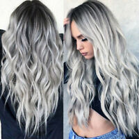 Halloween Cosplay Wig Women Long Curly Wavy Silver Ombre Synthetic Hair Full Wig