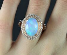 $5,999 14K Rose Gold 5.24ct Cabochon Fire Opal Round Diamond Cocktail Ring Band