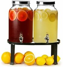 Dual Drinks Dispenser Jar Stand 10L Cold Beverage Tap Water Fruit Infusion Juice