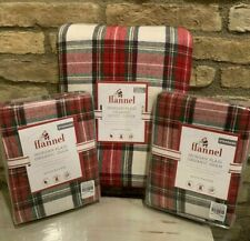 Pottery Barn Kids ORGANIC Morgan plaid flannel FULL QUEEN duvet Shams Christmas