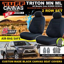 TUFF CANVAS BLACK Mitsubishi TRITON MN ML SEAT COVERS 2ROWs GLX GLX-R 9/2006-15