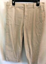 St Johns Bay Khaki Cropped Capris Womens Size 12 Stretch Pants