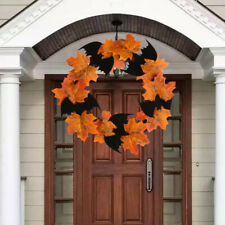 Halloween Decoration Bat Wreath Pendant Window Door Hanging Maple Leaf Wreath