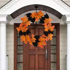 Halloween Decoration Bat Wreath Pendant Window Door Hanging Maple Leaf Wreath Y9