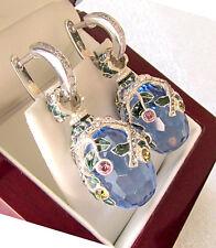 SALE ! RUSSIAN BLUE TOPAZ HANDMADE OF STERLING SILVER 925  EARRINGS with ENAMEL
