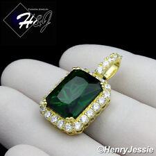 MEN 925 STERLING SILVER LAB DIAMOND ICED BLING GREEN GEMSTONE GOLD PENDANT*GP156
