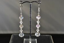 Hand Made Earrings Clear & Aurora Borealis Glass Drop Earrings Pierced