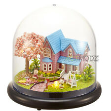 Meanful Child Gift Mini glass DIY Wooden Dollhouse Miniature with LED Craft Girl